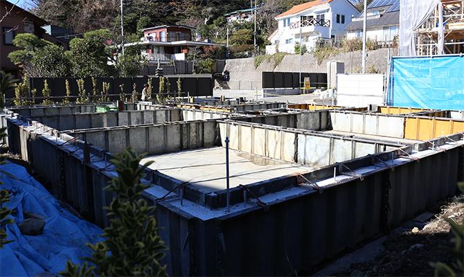 基礎の立上り部分のコンクリート打設